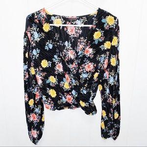 Topshop Black Floral Pleated Wrap Blouse